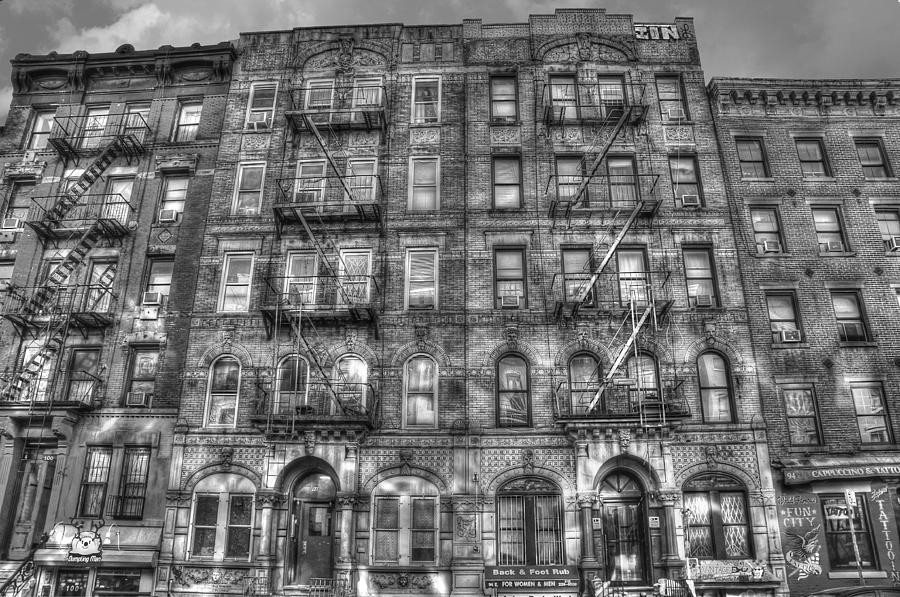 Led Zeppelin Physical Graffiti Building In Black And White Photograph