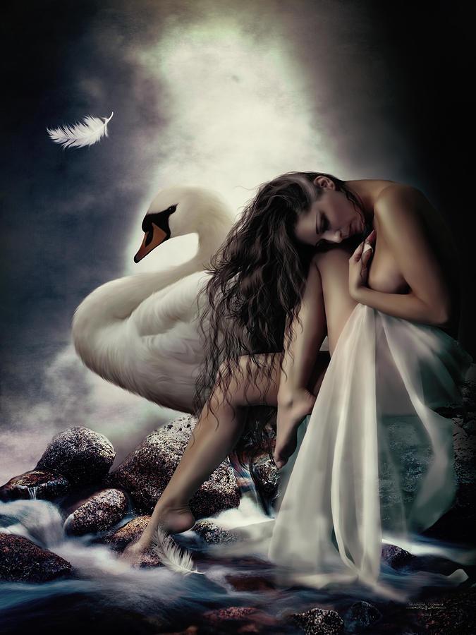 Leda Digital Art - Leda And The Swan by Shanina Conway