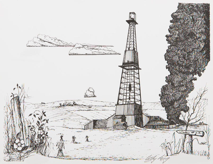 Leduc Oil Well Number One Drawing by Cathy Long  Leduc Oil Well ...