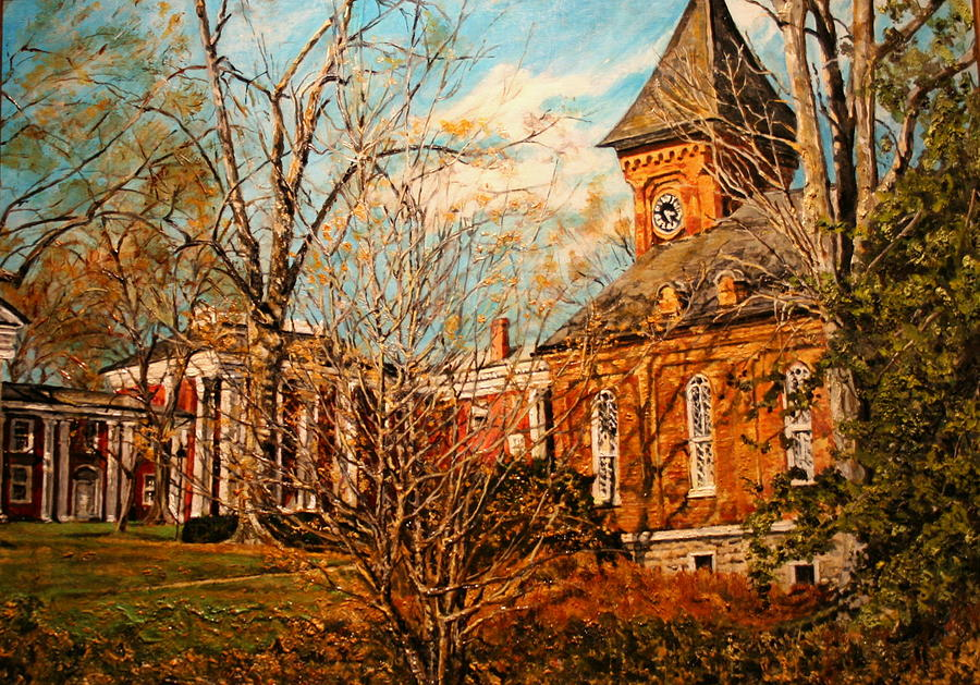 Historic Painting - Lee Chapel From The Lower Walk by Thomas Akers