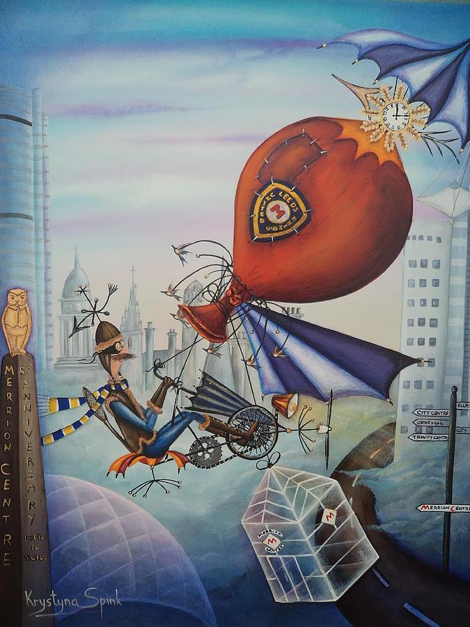 Balloon Painting - Leeds Gentleman Flies Again by Krystyna Spink