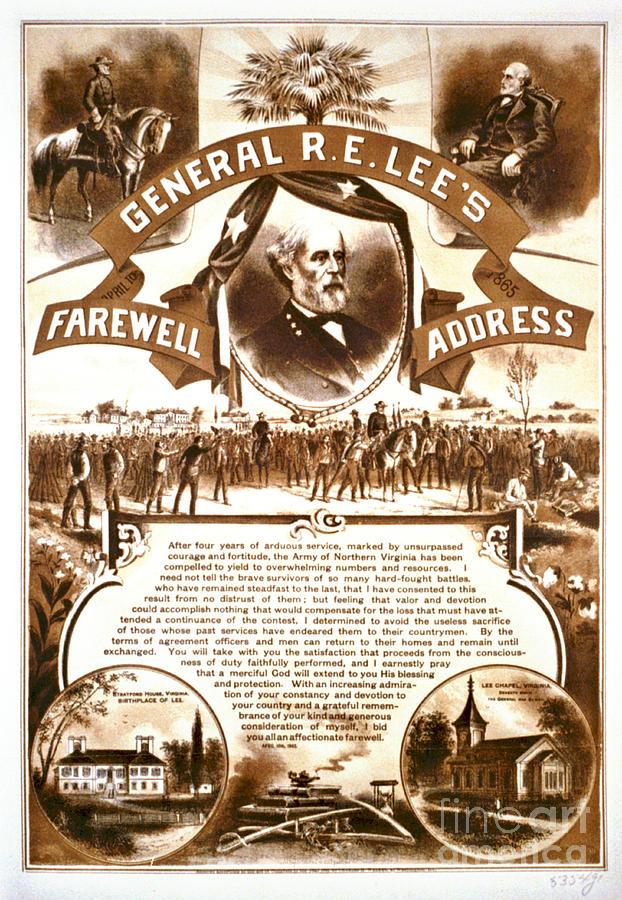 Robert Edward Lee Photograph - Lees Farewell Address 1865 by Padre Art