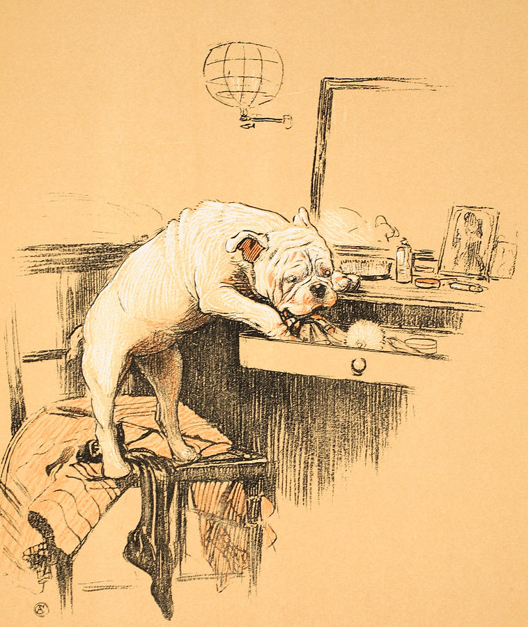 Dog Painting - Left Alone In Her Dressing Room by Cecil Charles Windsor Aldin