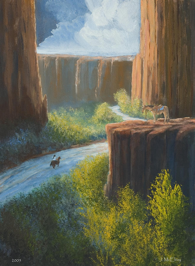 Canyon Painting - Left Behind by Jerry McElroy