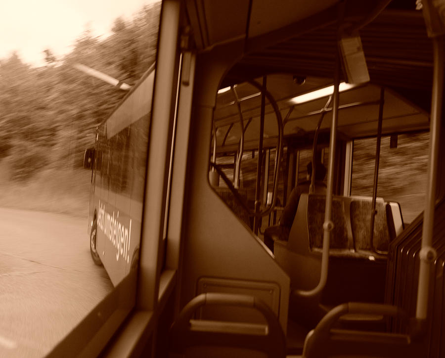 Bus Photograph - Left Turn by Miguel Winterpacht