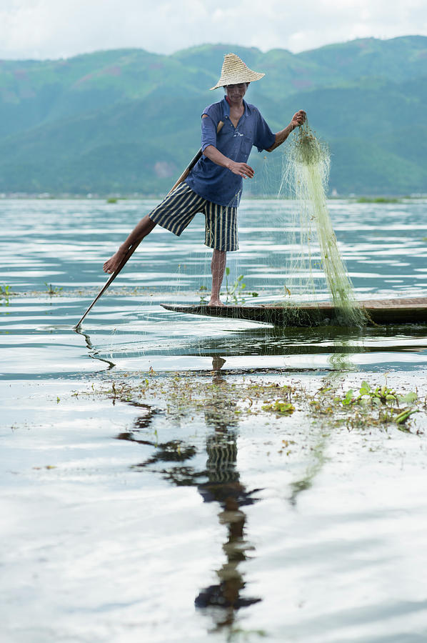 Leg-rowing Fisherman, Inle Lake, Shan Photograph by Cultura Rm Exclusive/yellowdog