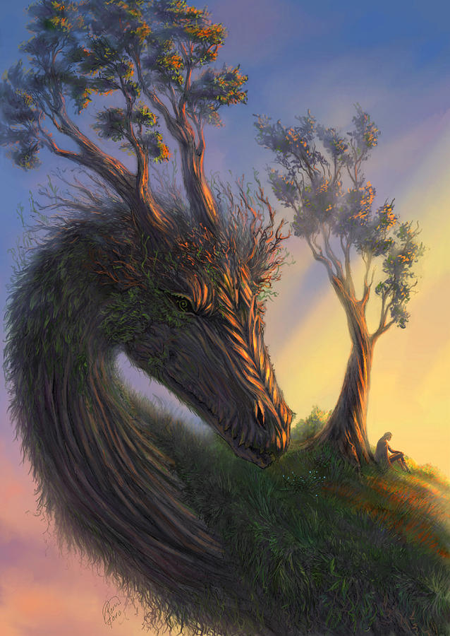 Dragon Digital Art - Legend by Katerina Romanova