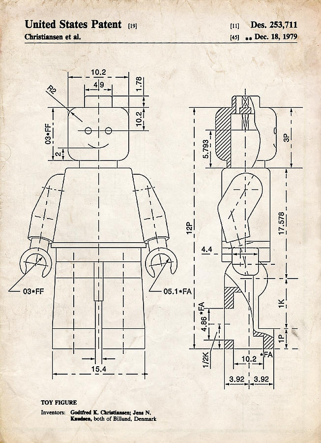 Lego Minifigure Patent Art Drawing By Stephen Chambers