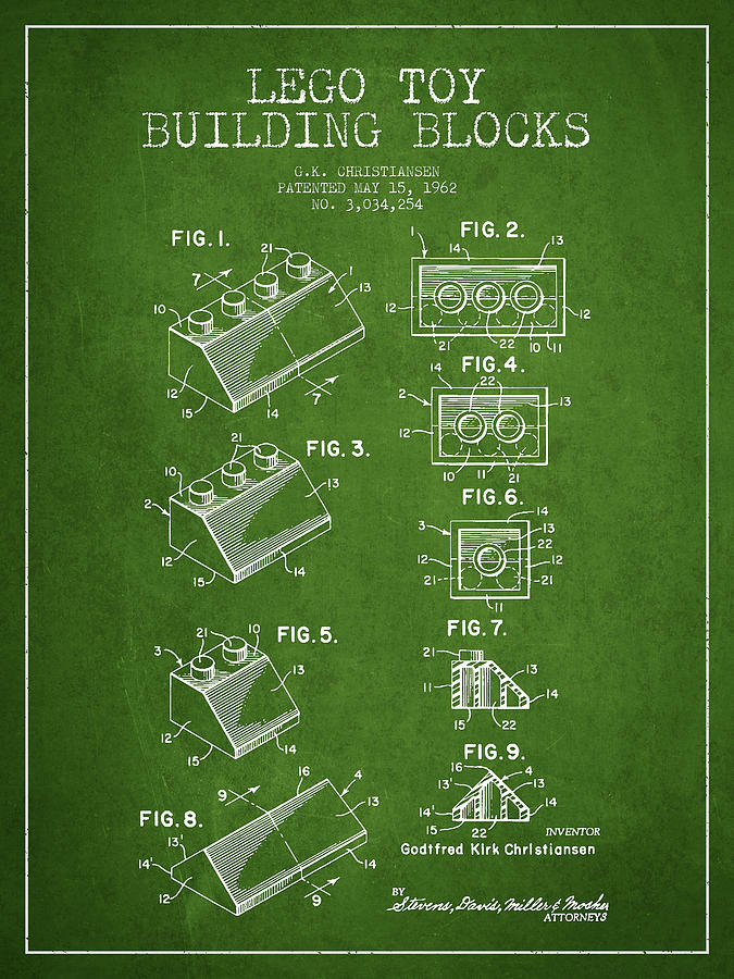 Lego Drawing - Lego Toy Building Blocks Patent - Green by Aged Pixel