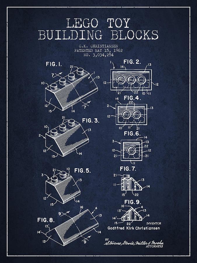 Lego Digital Art - Lego Toy Building Blocks Patent - Navy Blue by Aged Pixel