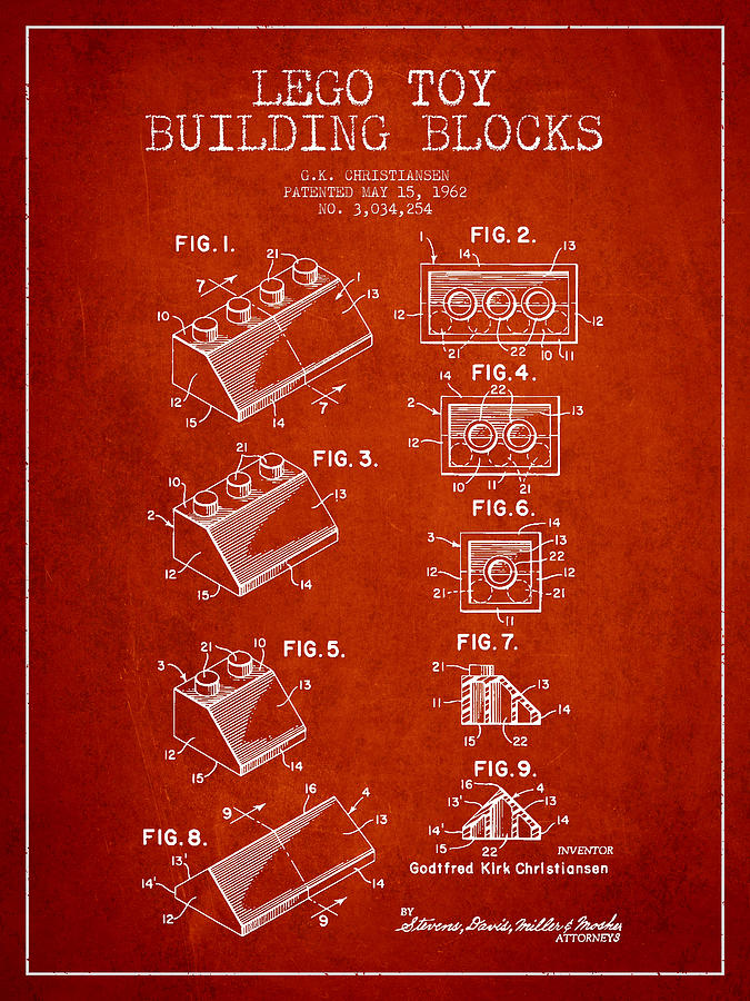 Lego Drawing - Lego Toy Building Blocks Patent - Red by Aged Pixel