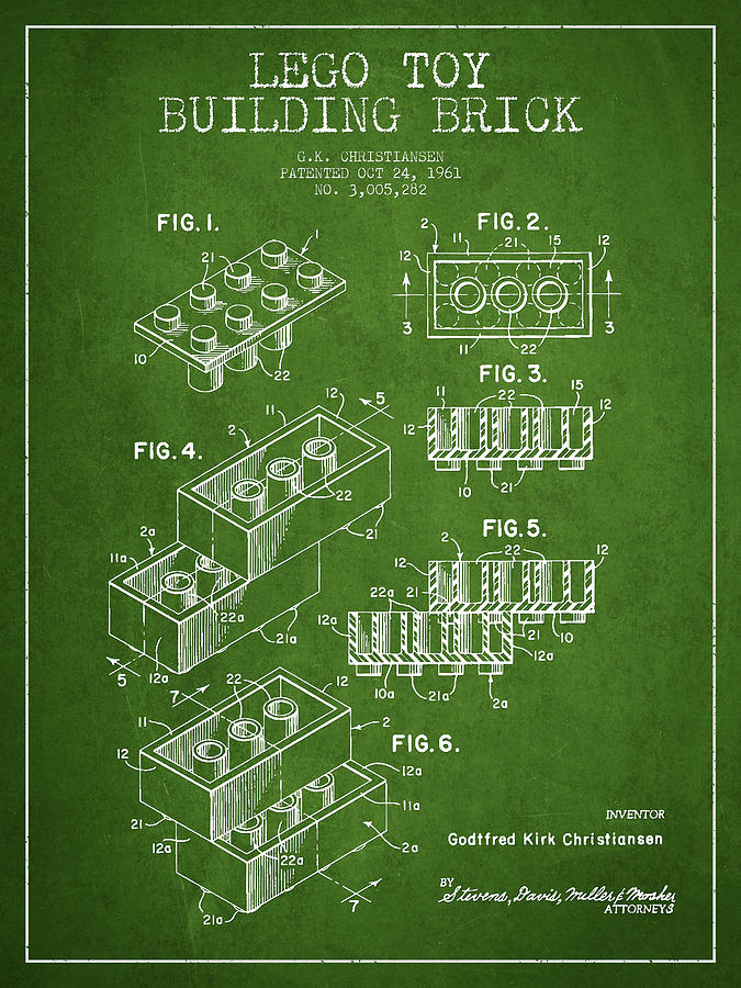 Lego Digital Art - Lego Toy Building Brick Patent - Green by Aged Pixel