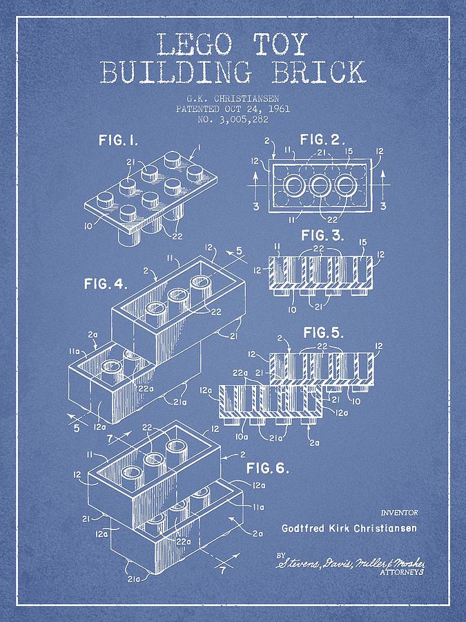 Lego Digital Art - Lego Toy Building Brick Patent - Light Blue by Aged Pixel