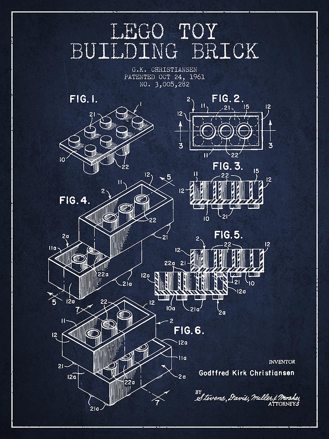 Lego Drawing - Lego Toy Building Brick Patent - Navy Blue by Aged Pixel