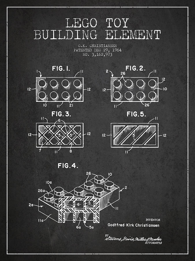 Lego Drawing - Lego Toy Building Element Patent - Dark by Aged Pixel