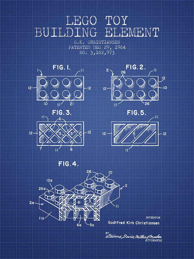 Lego toy building element patent from 1964 blueprint digital art lego digital art lego toy building element patent from 1964 blueprint by aged pixel malvernweather Gallery