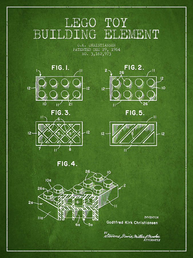 Lego Drawing - Lego Toy Building Element Patent - Green by Aged Pixel
