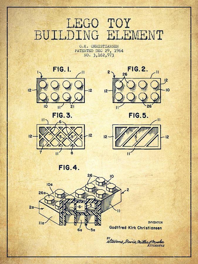 Lego Digital Art - Lego Toy Building Element Patent - Vintage by Aged Pixel