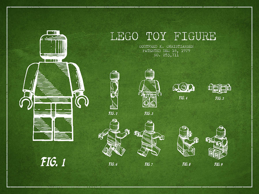 Lego Digital Art - Lego Toy Figure Patent Drawing From 1979 - Green by Aged Pixel