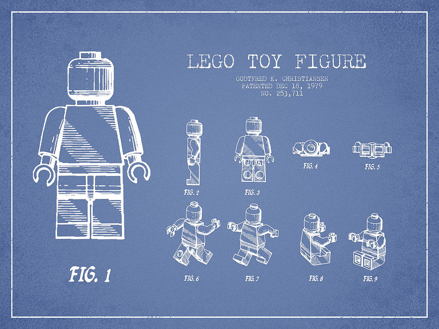 Lego Drawing - Lego Toy Figure Patent Drawing From 1979 - Light Blue by Aged Pixel