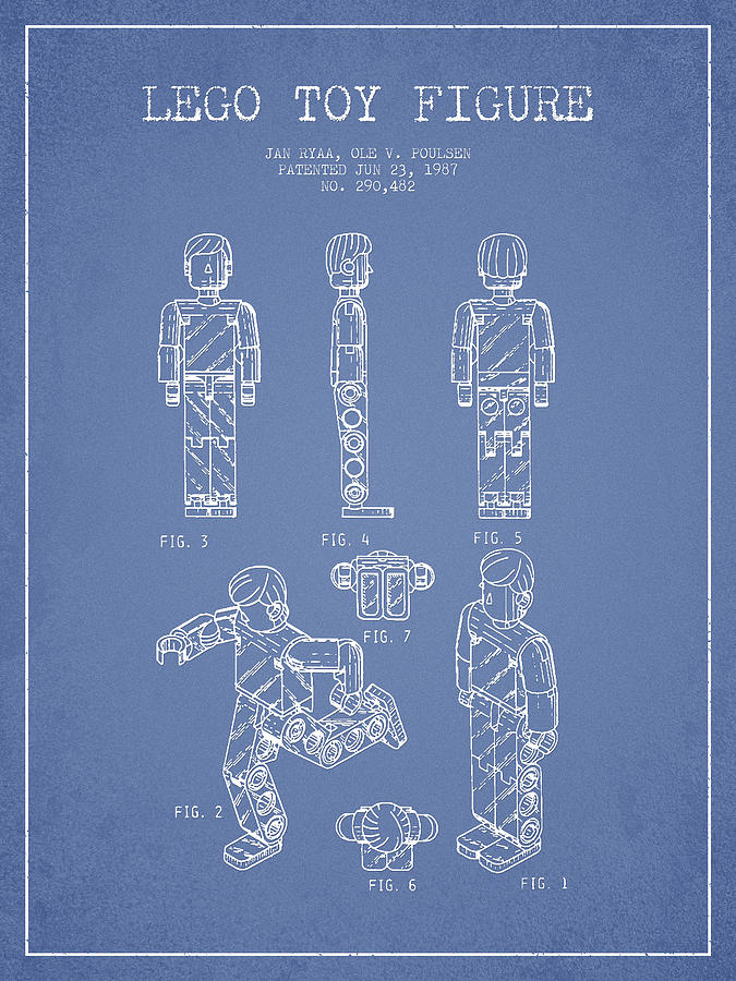 Lego Drawing - Lego Toy Figure Patent - Light Blue by Aged Pixel