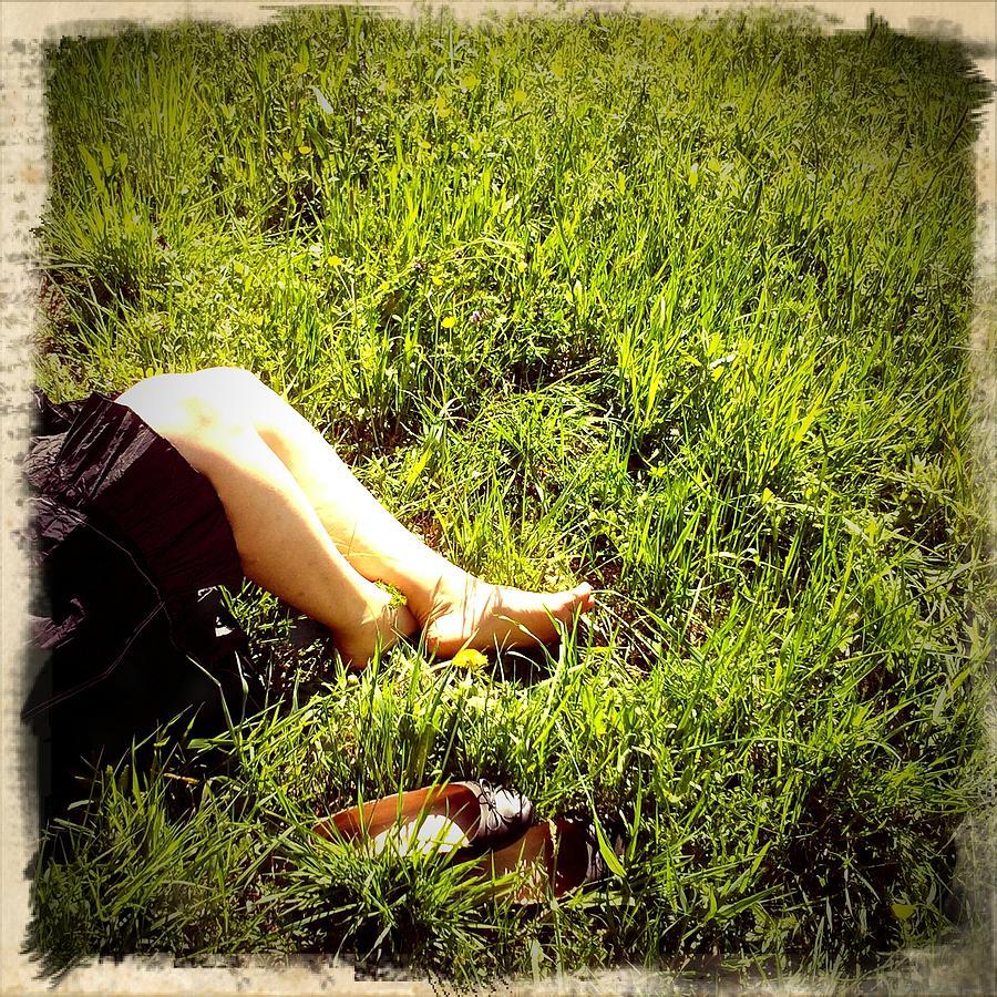 Legs Photograph - Legs of a woman and green grass by Matthias Hauser