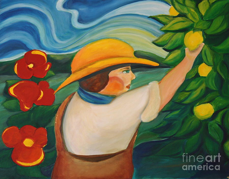 Landscape Painting - Lemon And Hibiscus by Teresa Hutto