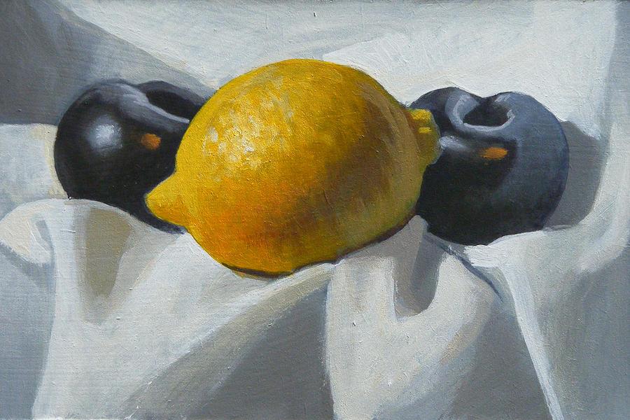 Lemon Painting - Lemon And Plums by Peter Orrock