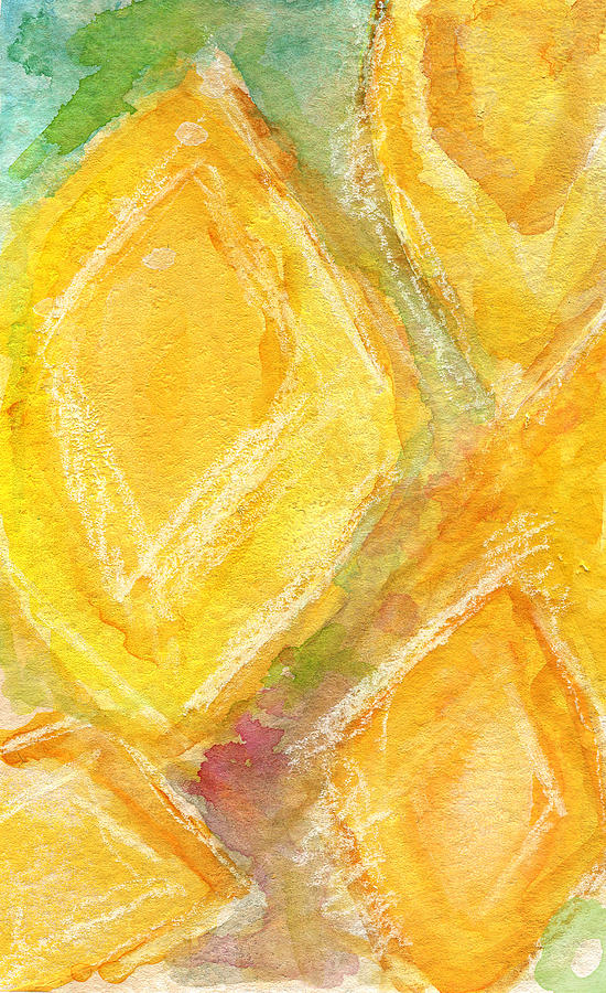 Abstract Painting Painting - Lemon Drops by Linda Woods