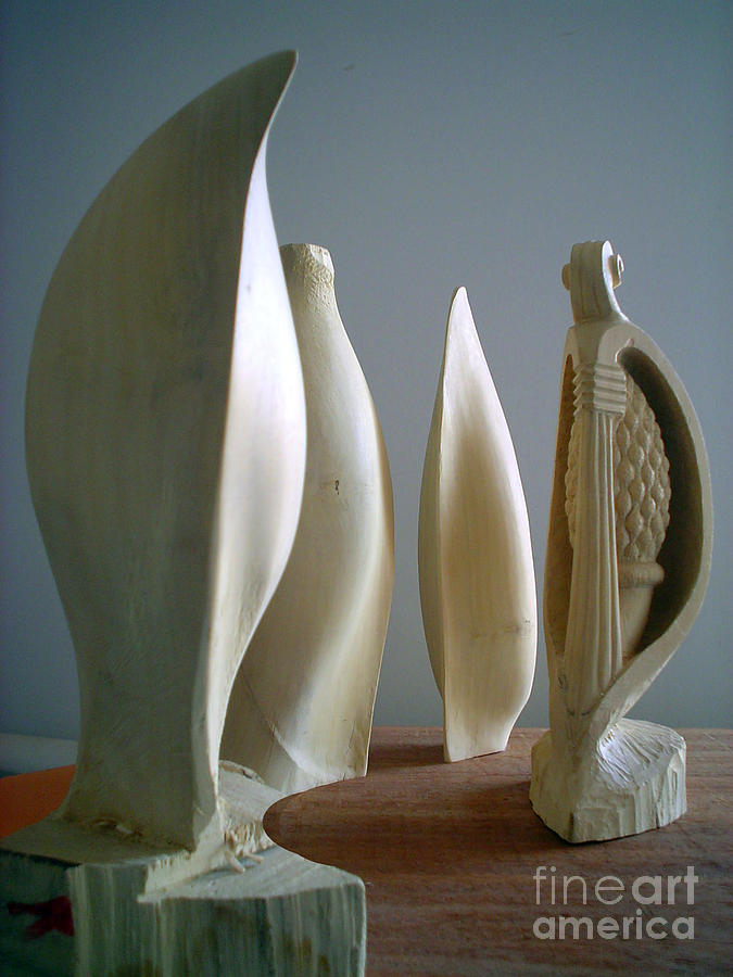 Lemon Wood Sculpture - Lemon seeds four-mulate by Gyula Friewald