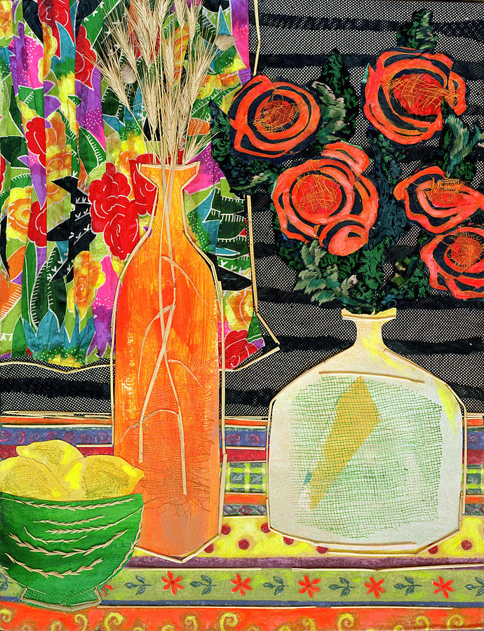 Flowers In A Vase Mixed Media - Lemon Squash And Pumpkin by Diane Fine