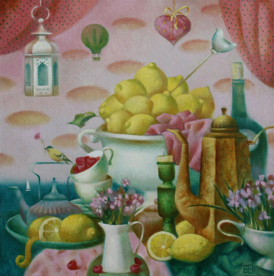 Still Life With Lemons Painting - Lemon Tea by Nadia Egorova