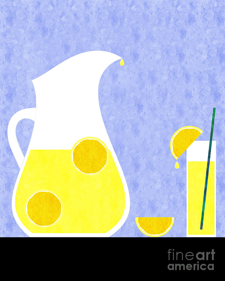 Lemonade Digital Art - Lemonade And Glass Blue by Andee Design
