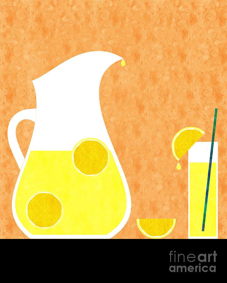 Lemonade Digital Art - Lemonade And Glass Orange by Andee Design