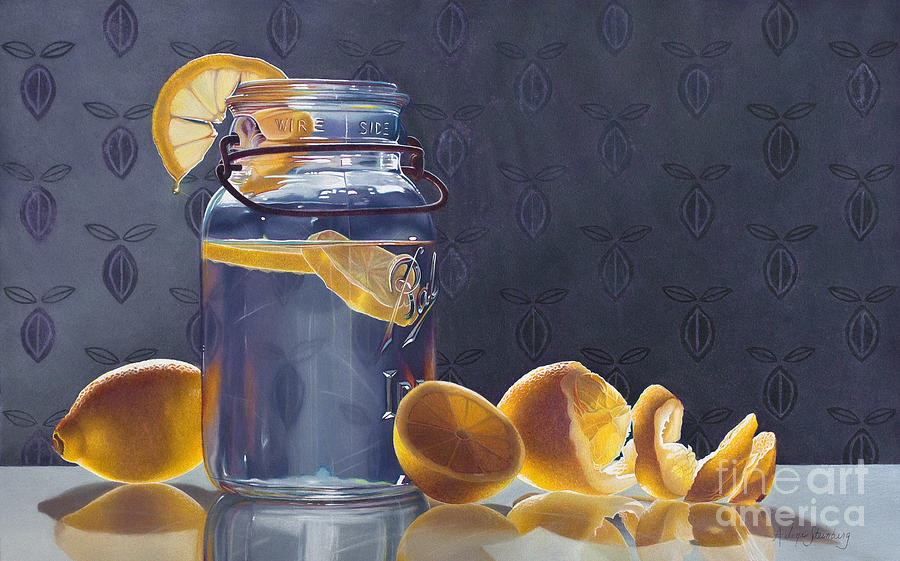 Still Life Painting - Lemonade by Arlene Steinberg