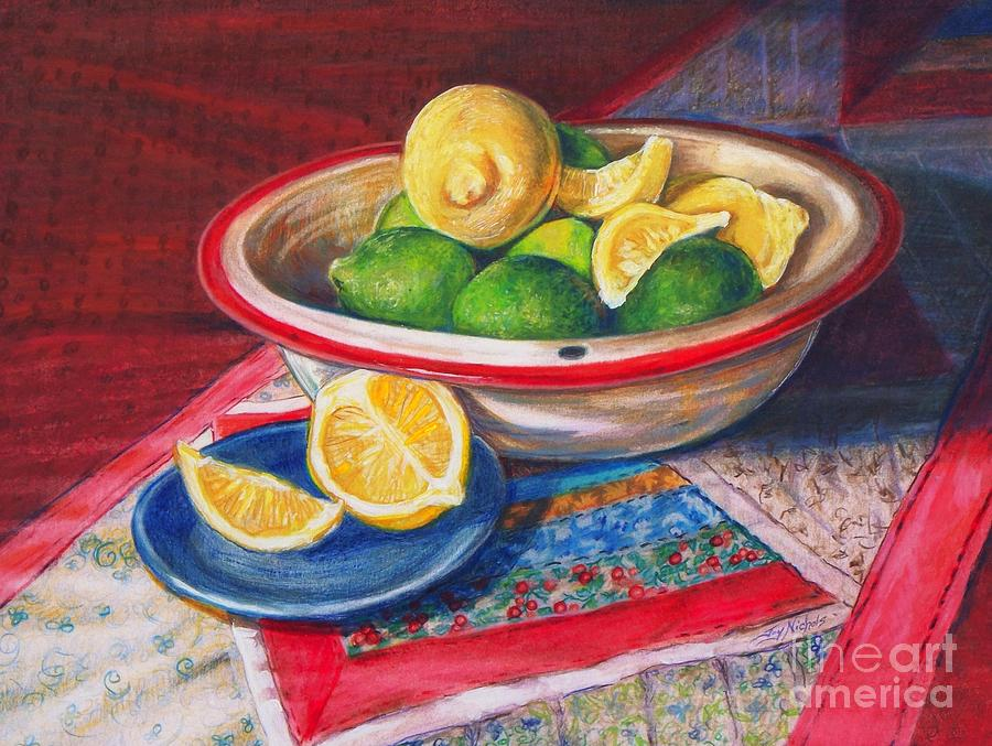 Drawing Drawing - Lemons And Limes by Joy Nichols