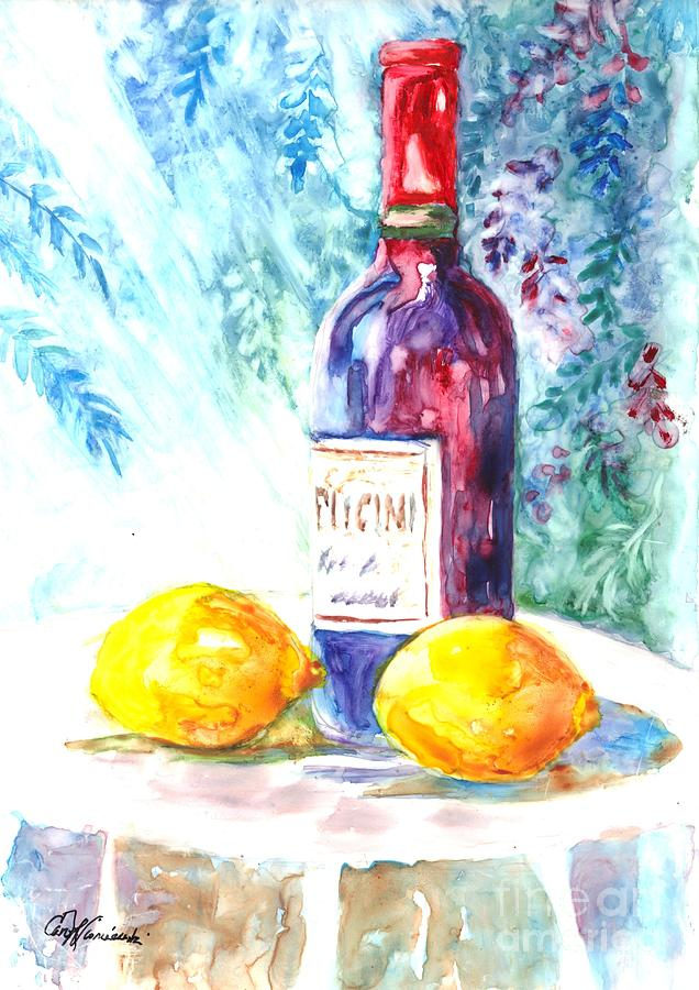 Wine Painting - Lemons And Wine And A Little Sunshine by Carol Wisniewski