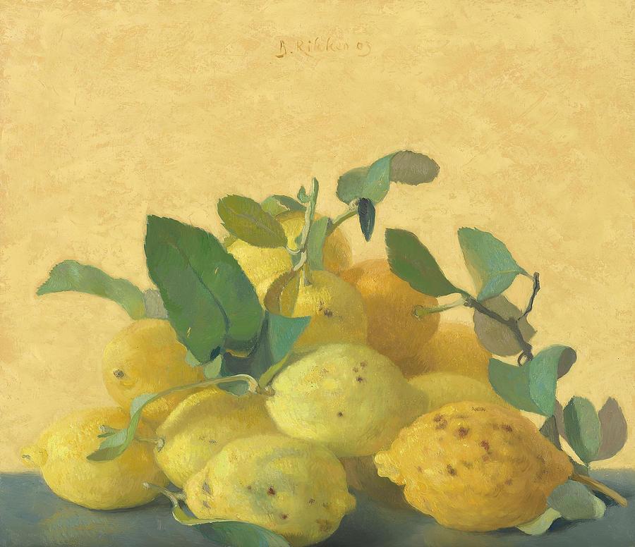 Still Life With Lemons Painting - Lemons by Ben Rikken
