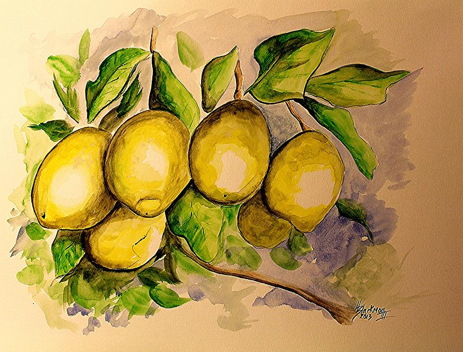 Fruit Painting - Lemons by Henry Blackmon