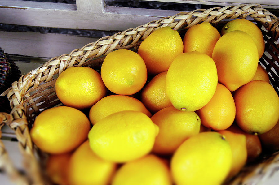 Lemons In A Basket Photograph by Bauhaus1000