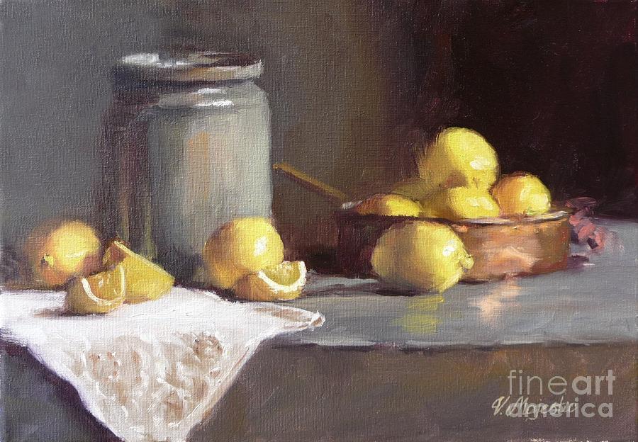 Lemon Painting - Lemons In Copper Pan  by Viktoria K Majestic