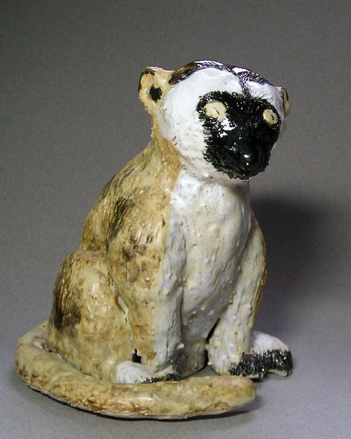 Black Face Sculpture - Lemur by Jeanette K
