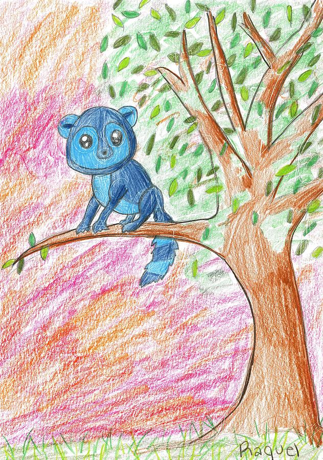 Lemur Drawing - Lemur At Home by Raquel Chaupiz