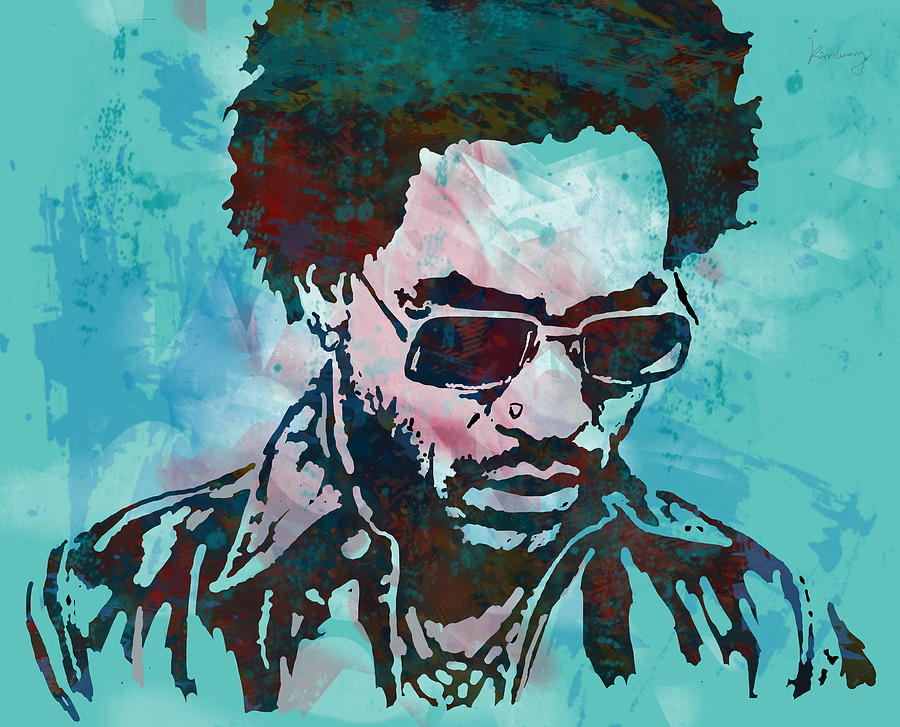 Multi-instrumentalist Drawing - Lenny Kravitz - Stylised Etching Pop Art Poster by Kim Wang