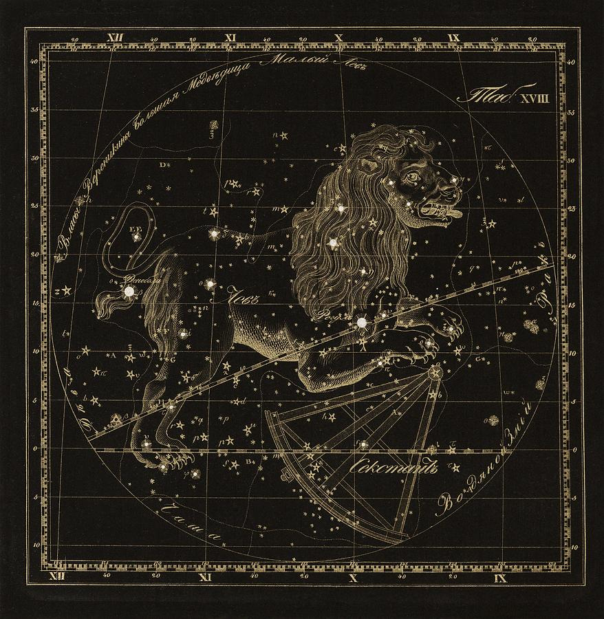 Leo Photograph - Leo Constellations, 1829 by Science Photo Library