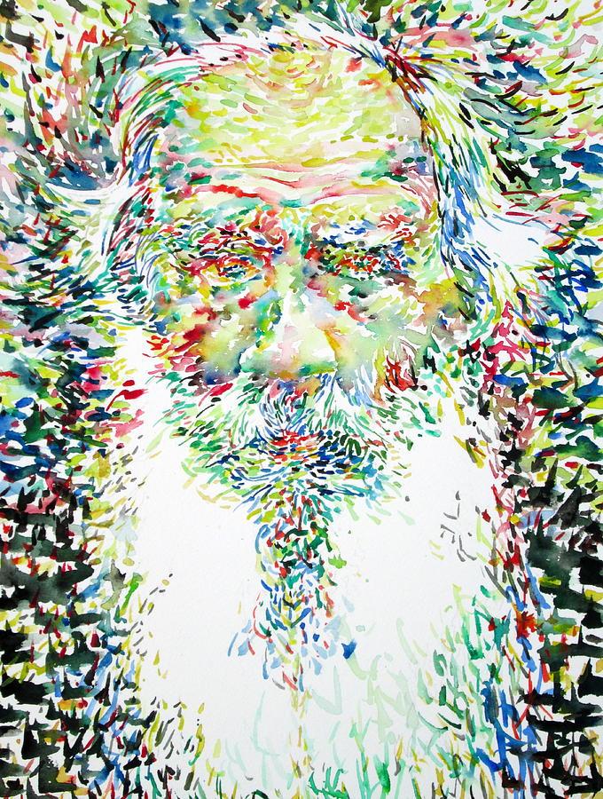 Leo Painting - Leo Tolstoy Watercolor Portrait.1 by Fabrizio Cassetta