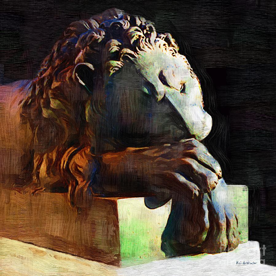 Lion Painting - Leo Weeps by RC DeWinter
