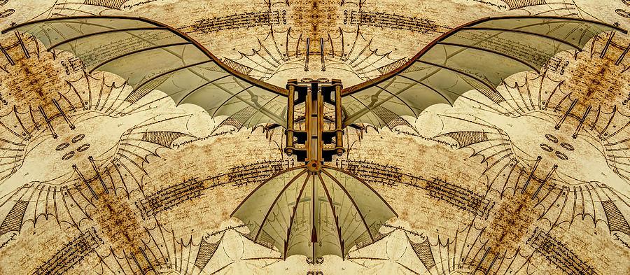 Leonardo Da Vinci Antique Flying Machine Under Parchment