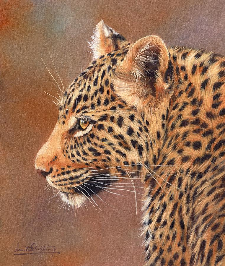 Leopard Portrait Painting By David Stribbling
