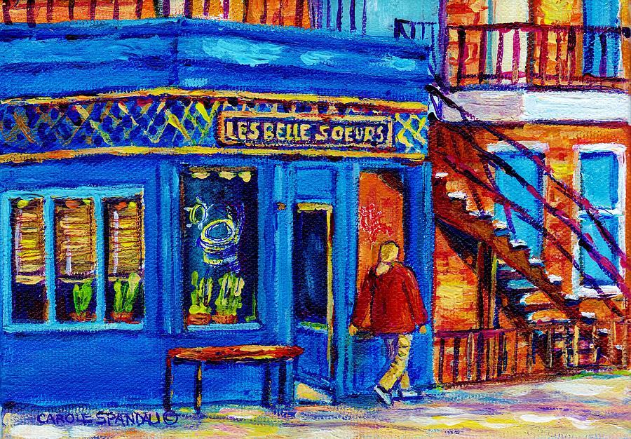Les Belles Soeurs Painting - Les Belles Soeurs  Montreal Restaurant Plateau Mont Royal Painting By Carole Spandau by Carole Spandau